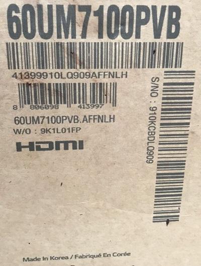 تلویزیون led هوشمند 4K ال جی lg 60um7100 بانه
