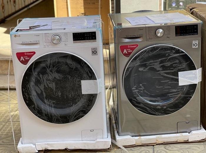 ماشین لباسشویی v5 نقره ای و سفید ال جی بخارشو دار بانه خرید